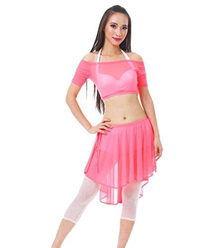 ZhiYuanAN 4Pcs Costume De Danse Du Ventre Set épaule Plat Tops & Soutien-Gorge & Jupe & Pantalon Set YGTao