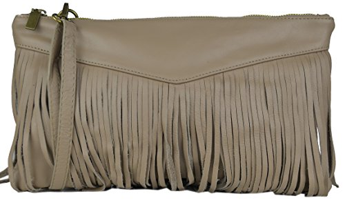 Bags4Less Clutch / Umhängetasche mit Fransen Caro aus echtem Leder (Dunkelgrau Glattleder) Taupe Nappa