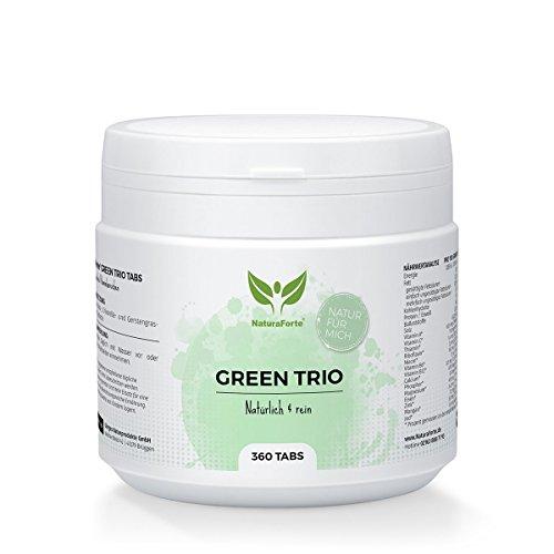 NaturaForte Green-Trio Spirulina, Chlorella, Gerstengras 360 Tabs, 500mg pro Tablette, Reich an Protein, Eisen, Folsäure und Chlorophyll, Superfood, Vegan, Hochdosiert, Rein und ohne Zusätze