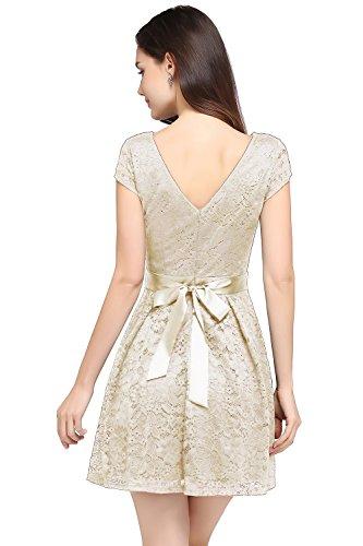 Babyonline® Damen Elegant Spitzenkleid Mini Sommerkleider Partykleider Abendkleid mit Gürtel Champagne
