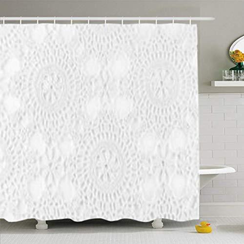 Gsgdae Duschvorhänge, 167,6 x 182,9 cm, Spitze, gehäkelt, Weiß genäht, abstrakt, antiker schwarzer Rand, wasserfester Stoff für Badezimmer, Heimdekoration, Set mit Haken -