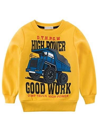 BesserBay Kinder Sweatshirts T Shirts Langarm Shirts Baumwolle Pulli Jungen Pullover Truck Gelb 9-10 Jahre/ Etikettengröße- 140 - 10 Langarm T-shirt