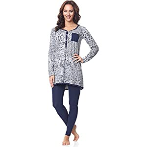 Be-Mammy-Premam-Pijama-Conjunto-Camiseta-y-Leggins-Embarazo-Lactancia-Maternidad-Vestidos-de-Cama-Mujer-BE20-178Melange-Estrellas-Marino-XL
