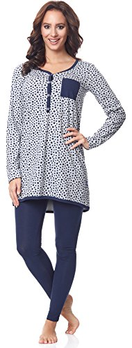 Be Mammy Damen Langarm Pyjama mit Stillfunktion BE20-178, Melange-Sterne-Marine, XL