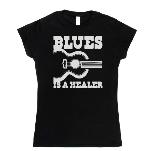 Blues is a Healer Womens Fitted T-shirt Schwarz