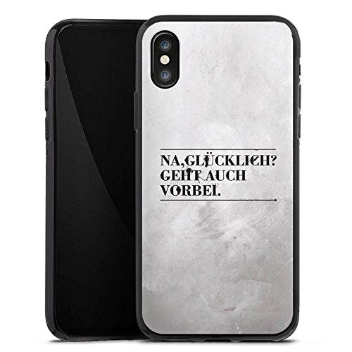 Apple iPhone X Silikon Hülle Case Schutzhülle Sprüche Glücklich Statement Silikon Case schwarz