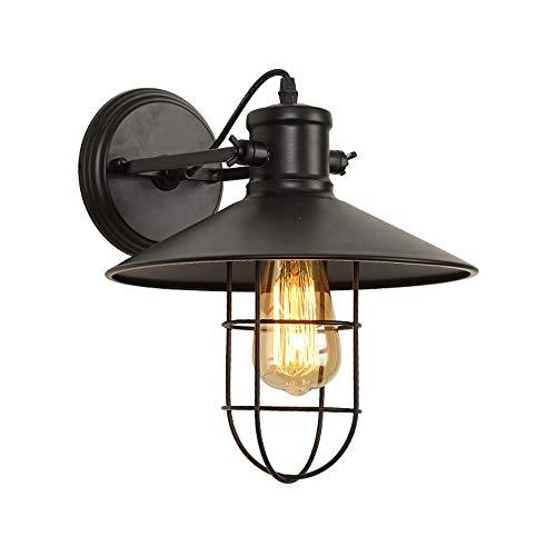 LCNINGBD Jaula de Malla metálica lámpara de Pared Industrial Salón Retro Pasillo Industrial lámpara de Pared clásica Lámpara de Pared rústica Negra Accesorios