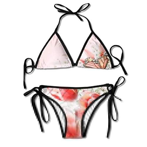 Women's Thong Bikini Suit Swimsuit Tulips Butterflies Sexy Bikini Set 2 Piece Womens Butterfly Twists