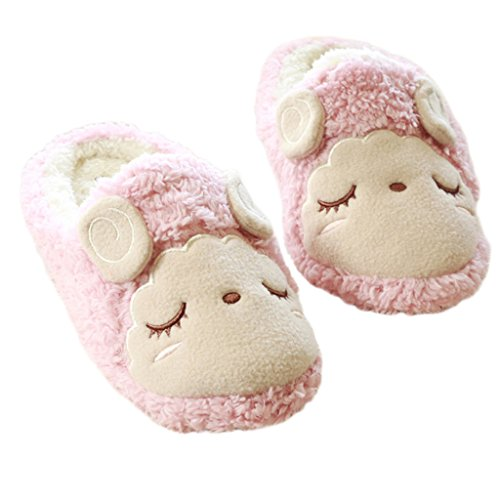 Fortuning's JDS Unisex adulti coppia Velluto Accogliente vello casa Calzature pecore belle confortevole Flatform pantofole Rosa