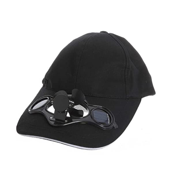 TOOGOO black Solar Powered Air Fan Cooled Baseball Hat Camping Traveling