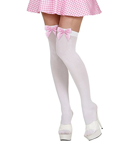ec132ffde30 White Thigh Highs with Pink Checked Bows Lingerie for Miss Muffet Fancy  Dress Accessory