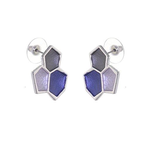 Atemberaubende Modeschmuck: Metallic-Blau und Grau Tone Honeycomb Große Ohrstecker (Halogen Bremsleuchte)
