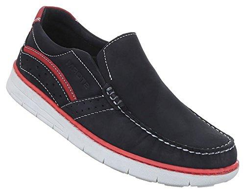 Herren Halbschuhe Schuhe Leder außen und innen Slipper Loafers schwarz blau 41 42 43 44 45 46 Schwarz
