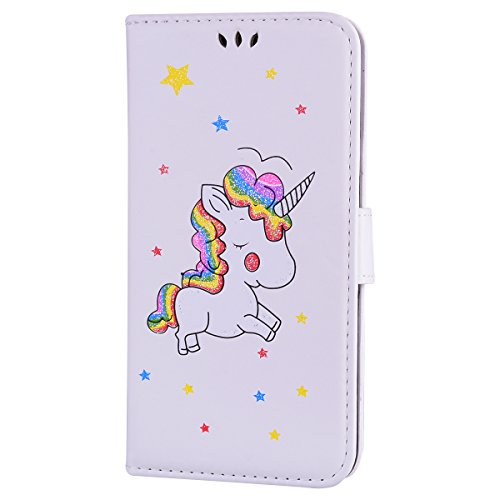 Cover iPhone 6,iPhone 6S Custodia,Mo-Beauty® Stampato Cute Unicorn Design Magnetico Snap-on Book Style Internamente Silicone TPU Case Protettiva PU Pelle Folio Flip Custodia per Apple iPhone 6/6S + 1  Bianca