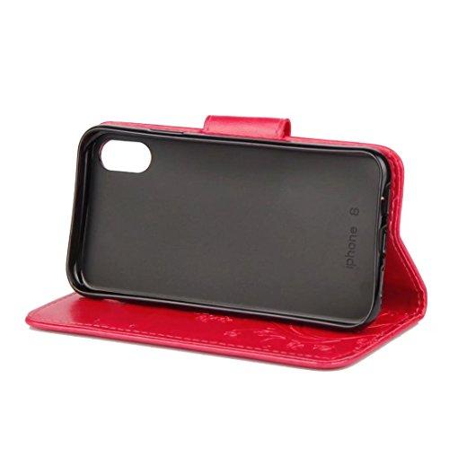 LEMORRY Apple iPhone X (iPhone 10 Ten) Custodia Pelle Cuoio Flip Portafoglio Borsa Sottile Bumper Protettivo Magnetico Chiusura Morbido Silicone TPU Case Cover Custodia per Apple iPhone X (iPhone 10 T Rosa