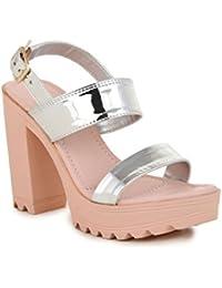 Bruno Manetti Women Silver (JF-7) Patent Leather Block Heels