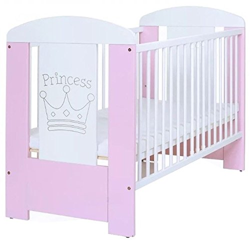Conexus Trading Adorable Pink Princess Baby Cot Bed with Mattress and Teething Rails