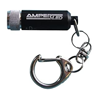 AMPERCELL LED Key Light Nano 38 x & # X2205, 10 mm, Black, 8 M, LM Aluminium, Snap Hook, Splash Proof, Shockproof, Beam 6 Batteries Included