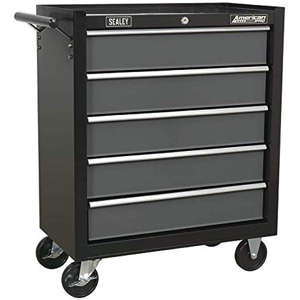 Industrial 5 drawer wheeled cabinet drawer unit tool workshop storage heavy duty