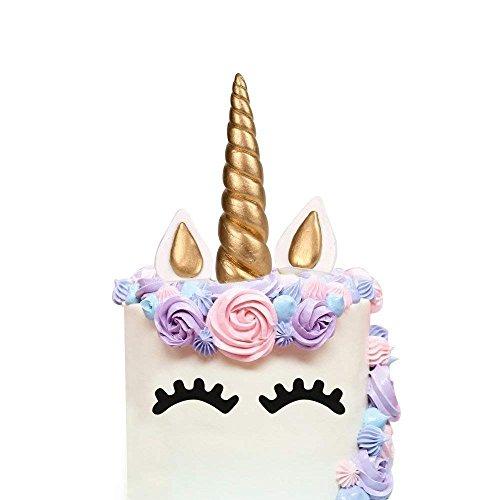 Cake Topper Especificación : Unicornio Cuerno:longitud:6 inch, anchura: 1.37 inch,1.1oz; Pestaña:longitud :1.77 inch,anchura:0.8 inch Orejas:longitud:3.54inch,anchura:1.57inch,0.63oz; Color: ORO; Paquete detalles: 1* unicornio cuerno 2*unicornio pest...