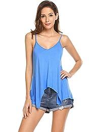 9c8cb4c19d72 Imposes Damen Spagettiträger Top Ärmelloses Tank Top V Ausschnitt Oberteil  Sommer T Shirt Camisole Weiß Blau…