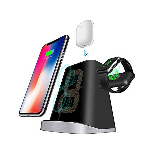 Wireless-Ladestation, 3 in 1 Apple Watch Airpods und iPhone-Ladestation kompatibel mit IPhone 8 Plus X XR XS, schnelles QI-Wireless-Ladegerät für Samsung S9 S7-Dockingstation