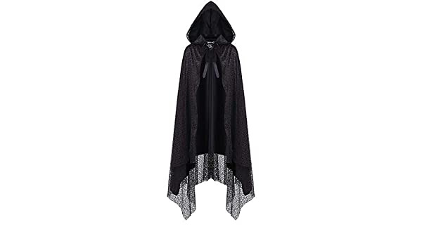 Dark In Love Womens Hooded Gothic Cloak Cape Black Red Mesh Witch Punk Spider