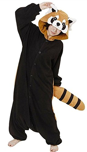 ABYED® Jumpsuit Tier Karton Fasching Halloween Kostüm Sleepsuit Cosplay Fleece-Overall Pyjama Schlafanzug Erwachsene Unisex Lounge,Erwachsene Größe S - für Höhe 150-158cm (Kostüm Waschbär Mädchen)