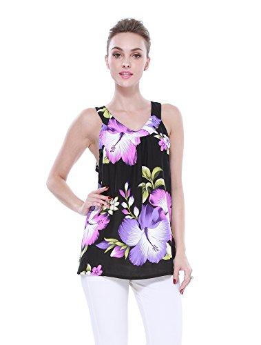 Mujeres-camiseta-con-capucha-floral-hawaiana-en-Negro-con-hibisco-gigante-prpura-y-hoja-verde
