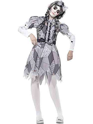 costumebakery - Damen Frauen Kostüm Horror Zombie zersprungene Puppe mit Kleid und Kopfschmuck, Damaged Doll Dress with Headpiece, perfekt für Halloween Karneval und Fasching, L, ()