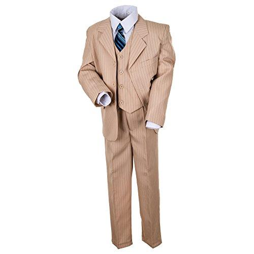 """Kinderanzug """"Ben"""" 5-tlg. in grau oder beige (Sakko, Weste, Hose, Hemd u. Krawatte) Endlich wieder verfügbar! (Gr. 01 (98/104), beige)"""