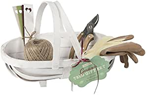 Wooden trug gift set with garden tools and gardening for Gardening gloves amazon