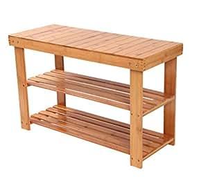 holz schuhregal 70cm x 45cm x 28cm schuhschrank mit sitzbank schuh regal schuhst nder aus bambus. Black Bedroom Furniture Sets. Home Design Ideas