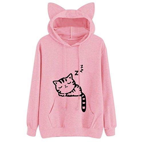 Amlaiworld Sweatshirts Katze Tasche ?rmellos Order Langarmshirts Damen Komfortabel Locker Haustierhalter Sweatshirt Warm Winter Herbst Kapuzenpullover Pulli (L, Rosa(A))