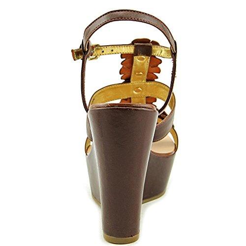 Juicy Couture Kiera Large Synthétique Sandales Compensés Dark Cognac