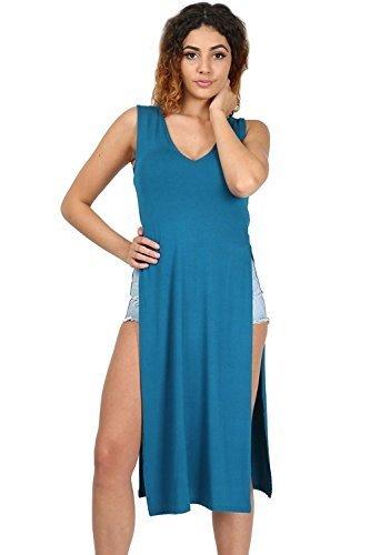 Oops Outlet - Damen V-Ausschnitt Doppel Seitenschlitz Ausgeschnitten Tunika Taillenhoher Schlitz Midi Kleid Übergröße Blaugrün