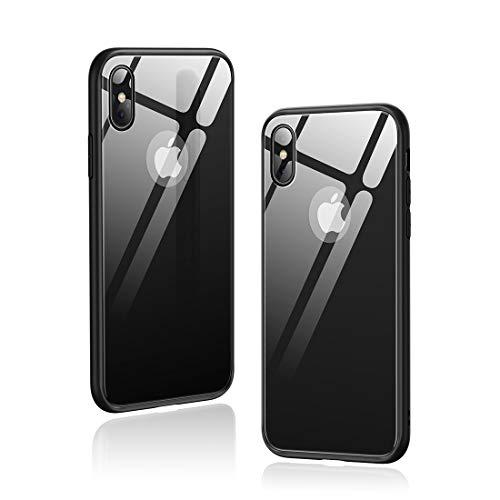 Humixx iPhone Xs Hülle,iPhone X Hülle,Hochwertigem 9H Gehärtetem Glas Rückseite mit TPU Rahmen Schutzhülle, Ultra Dünn Handyhülle,Perfekter Schutz Hülle für iPhone Xs/X(5.8) - Schwarz