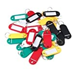 100Mixed Farbige Kunststoff Schlüsselanhänger Gepäck ID Tags Etiketten Schlüsselanhänger mit Namen Karten