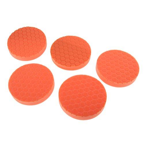 Fenteer 5er / Set Polierpad 5 Zoll Polierauflage Polieraufsatz für Auto Polierer Poliermaschine Akkuschrauber - Orange (Winkelschleifer 5 Zoll)