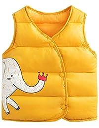 LaoZanA Niños Niñas Otoño Invierno Sin Mangas Abrigo Chaquetas Chaleco Amarillo 130CM
