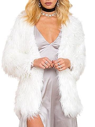 Simplee Apparel les femmes est longue manche en fausse fourrure épais pelage d'hiver extérieur de la tenue des pardessus noir, veste chaude