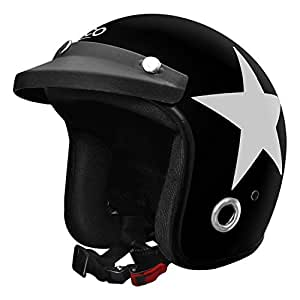 Habsolite HB-ESBG Ecco Star Open Face Helmet with Detachable Cap & Adjustable Strap for Men & Women Bike Motorcycle Scooty Riding (Black and Grey, M)
