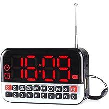 FM Radio Portatil Boombox Altavoz Reproductor de música MP3 con Reloj Despertador Función y Pantalla LED Grande Soporte Puerto USB Ranura para tarjetas TF Enchufe de Jack para auriculares de 3.5mm