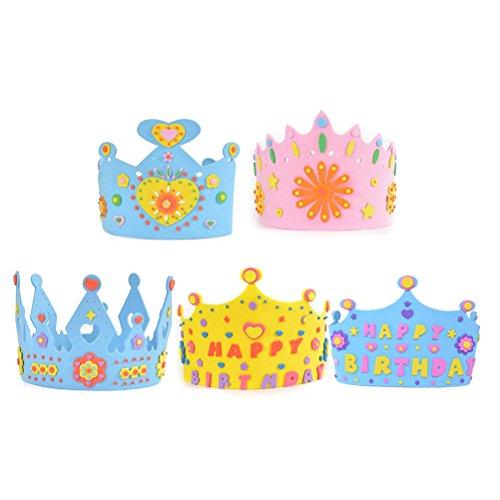 BESTOYARD 5 stücke Kuchen Geburtstag Party hüte Kinder Geburtstag Krone DIY Hut Handwerk Spielzeug für Jungen
