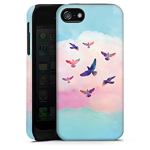 Apple iPhone X Silikon Hülle Case Schutzhülle Vögel Himmel pinke Wolke Tough Case matt