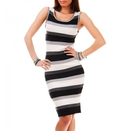 24brands - Robe rayures noire 2 couleurs Maxirobe taille unique - Femmes Schwarz