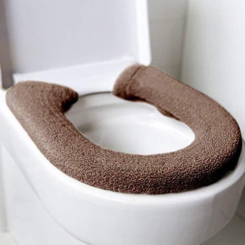 BOENFU Wc-sitzbezug Luxus Dicke Kissen Pads Warm Stretchable Universal Waschbar Toilettensitzmatte (Braun)