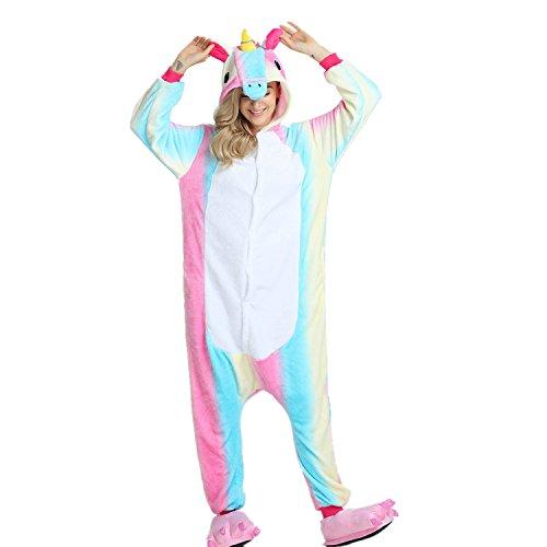 rikatur Overalls Pyjama Nachtwäsche Nacht Kleidung Dress up, Maskerade Partei Kostüme Für Erwachsene (M, Blauer Regenbogen) (Bleiben Kostüm)
