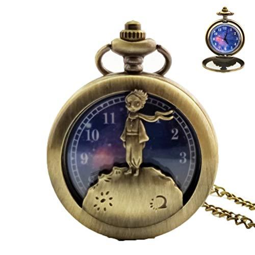 YuYaX Pocket Watch Taschenuhr Vintage Glatte Quarz Roman Digital Prince Starry Hintergrund Illustration Klassische High-End-Geschenkbox Verpackung Glasspiegel Geburtstag Retro Geschenk, Bronze Prince Shorts