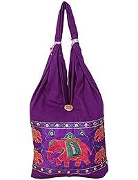 Womaniya Purple Canvas Handicraft Jhola Bag For Women